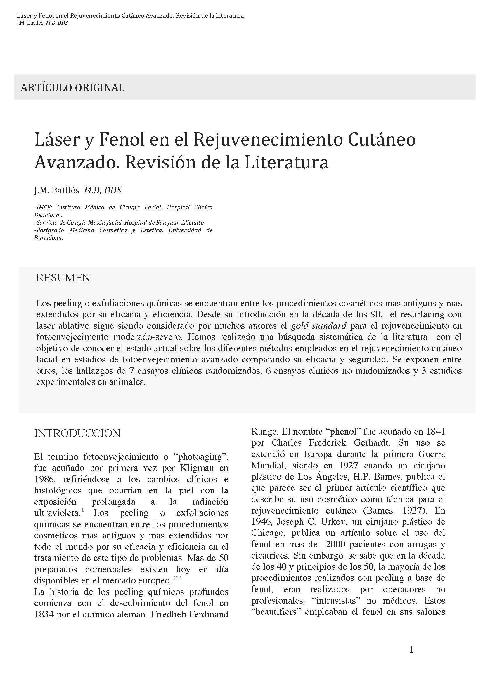 Láser y Fenol en el Rejuvenecimiento Cutáneo Avanzado. Revisión de la Literatura